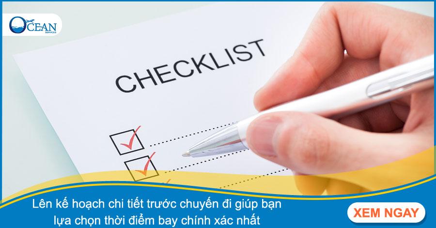 Lập checklist để chuẩn bị cho chuyến đi du lịch