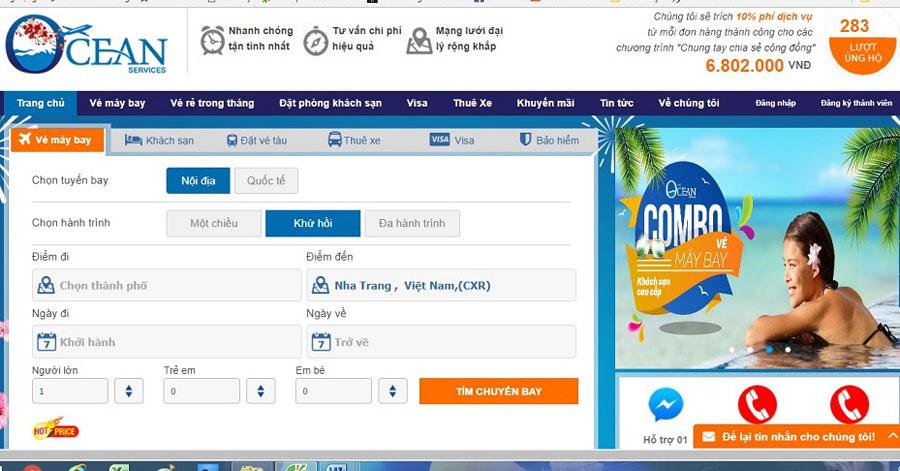 Giao diện đặt vé máy bay đi Nha Trang tại dulichdaiduong.vn