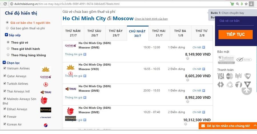 Giá vé máy bay đi Moscow tham khảo tại dulichdaiduong.vn