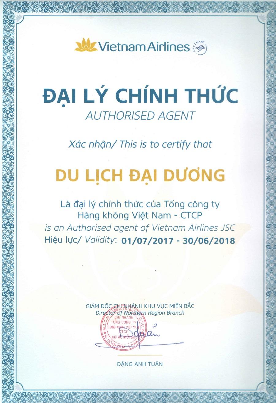 Chứng nhận của Vietnam Airlines