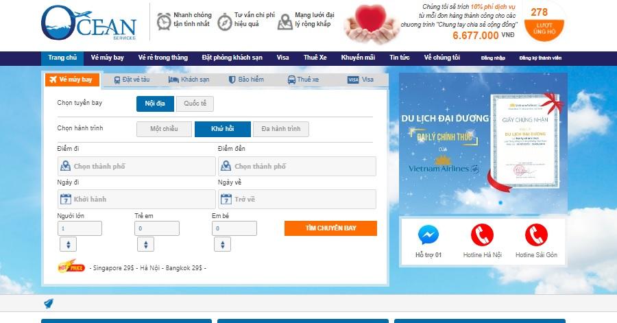 Giao diện đặt vé máy bay tại dulichdaiduong.vn