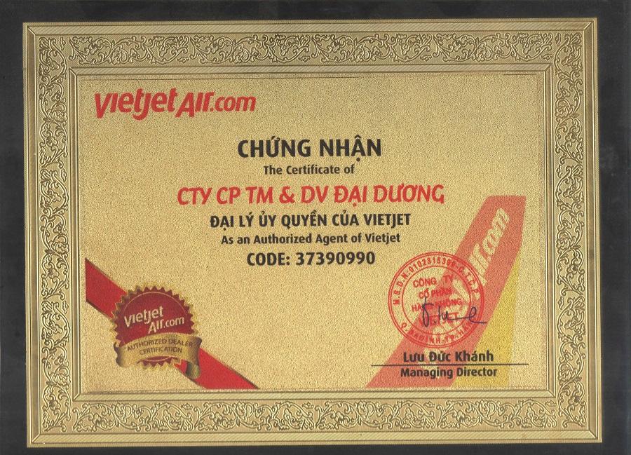 Chứng nhận của VietJet Air