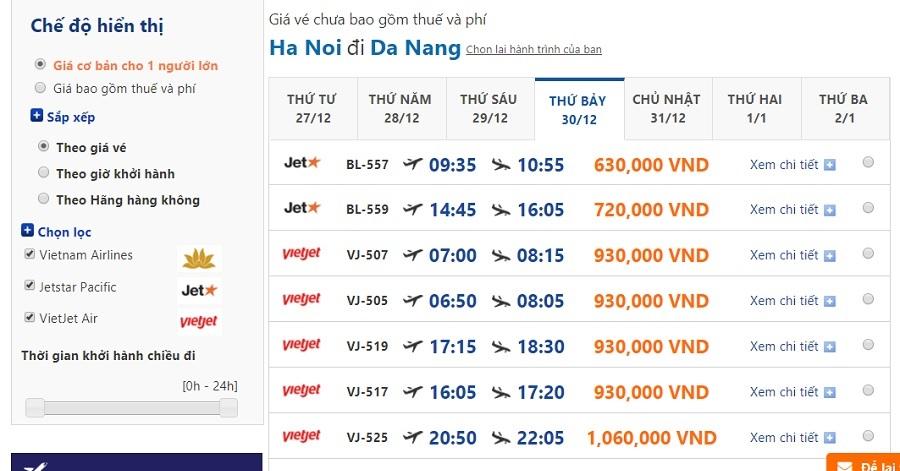 Đặt vé hà nội đà nẵng ngày 30/12/2107 tại dulichdaiduong.vn