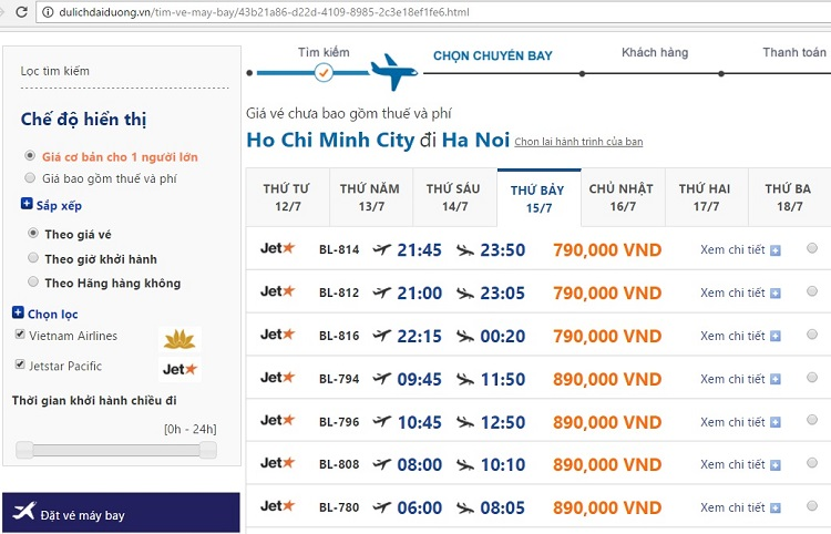 Giá vé máy bay đi Hà Nội từ Sài Gòn