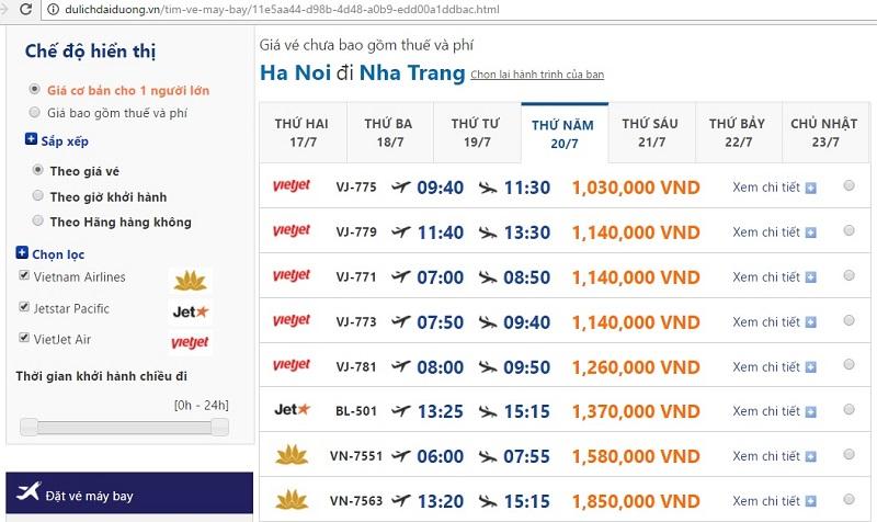Vé máy bay đi Nha Trang tại dulichdaiduong.vn tháng 07/2017