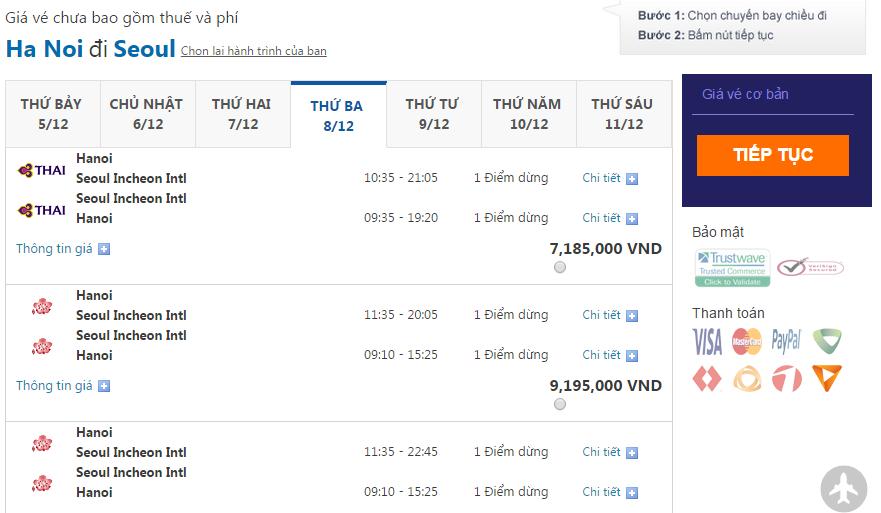 giá vé máy bay đến hàn quốc