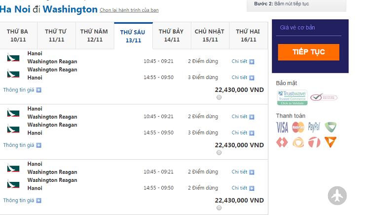 giá vé máy bay đi mỹ giá rẻ