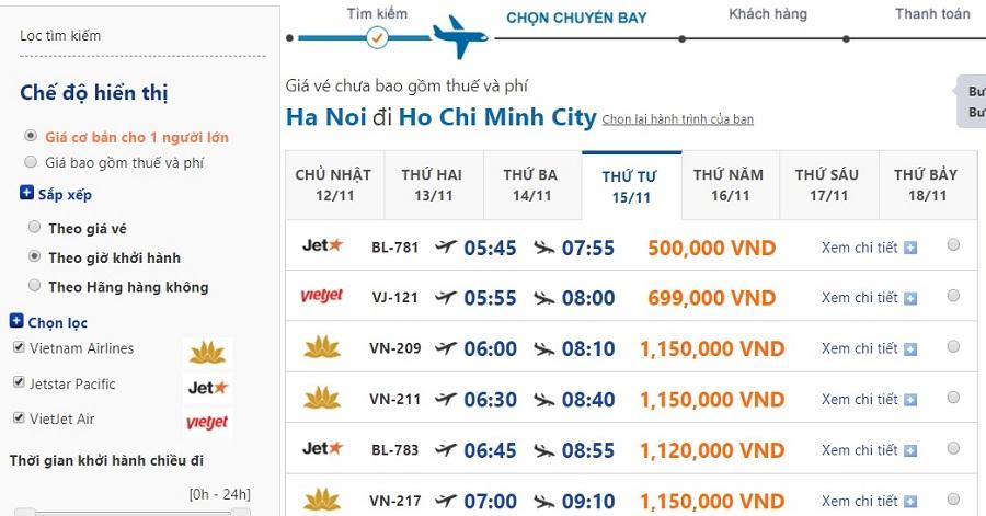 Bảng giá vé máy bay đi thành phố Hồ Chí Minh cuối năm 2017