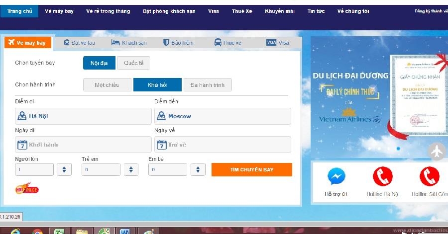 Giá vé máy bay từ hà nội đi moscow của các hãng hàng không