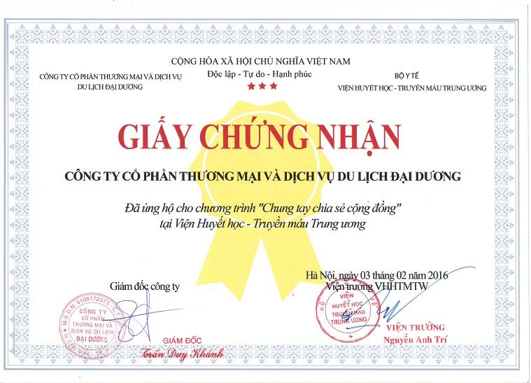 Giấy chứng nhận tình nguyện của Công ty CPTM và DVDL Đại Dương