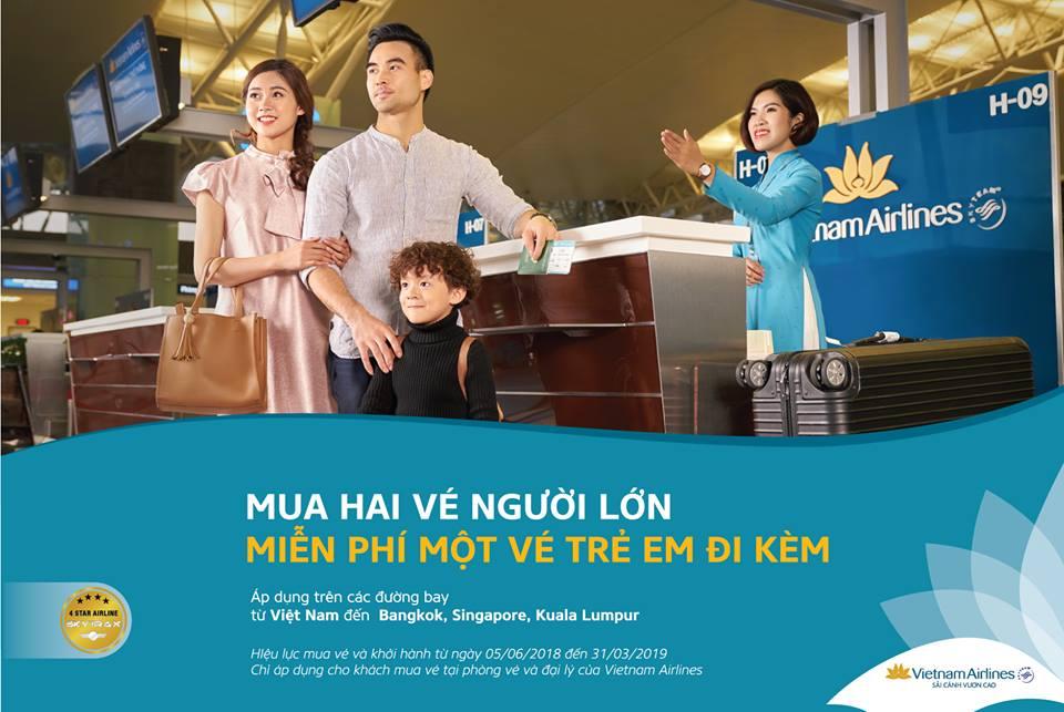Khuyến mãi Hot từ Vietnam Airlines: Mua 2 vé người lớn, miễn phí một vé trẻ em đi kèm