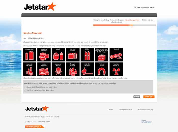 làm thủ tục trực tuyến Jetstar