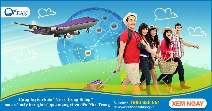 """""""Vé rẻ trong tháng"""" – tuyệt chiêu mua vé máy bay giá rẻ qua mạng đi Nha Trang"""