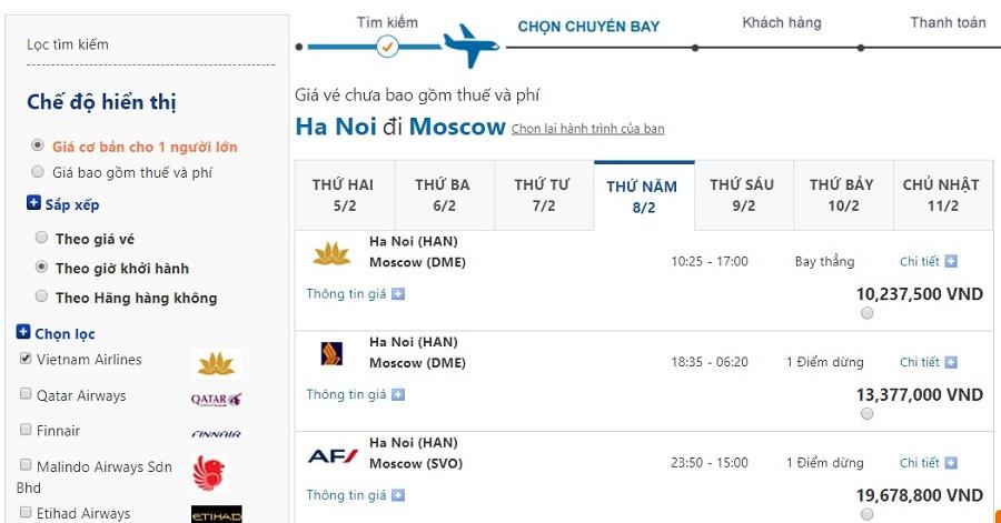 Bảng giá vé máy bay đi Nga cho hành trình Hà Nội - Moscow trong tháng 2/2018: