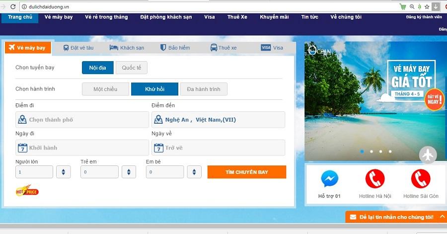 Giao diện đặt vé máy bay đến Vinh tại website dulichdaiduong.vn