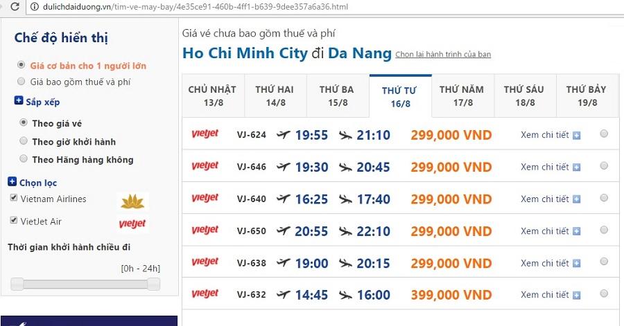 Vé máy bay giá rẻ đi đà nẵng tháng 8 từ Sài Gòn