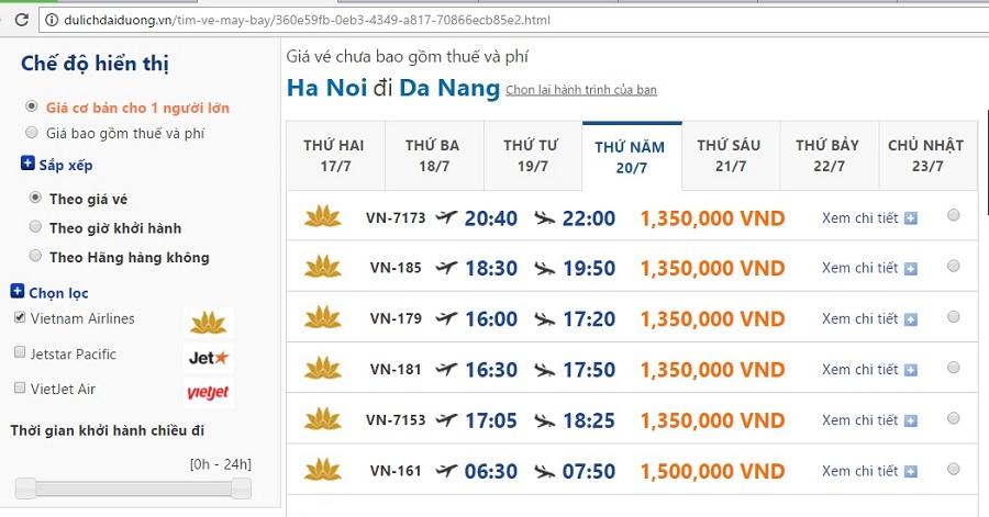 Vé máy bay giá rẻ đi đà nẵng vietnam airlines từ Hà Nội