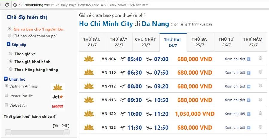 Vé máy bay đi đà nẵng giá tốt của vietnam airlines từ Sài Gòn
