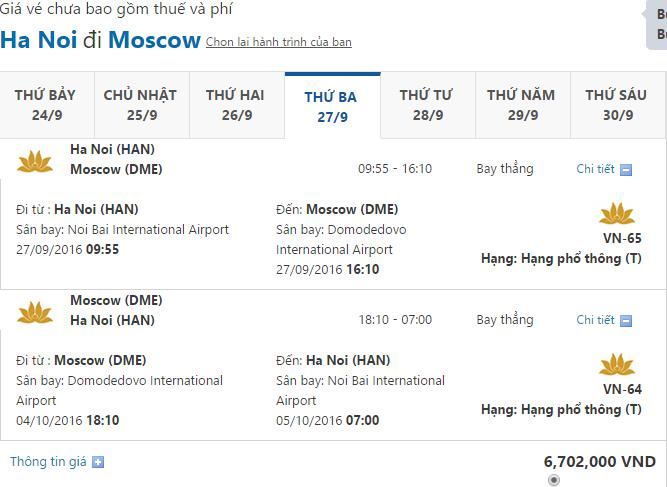 ve may bay vietnam airlines di nga