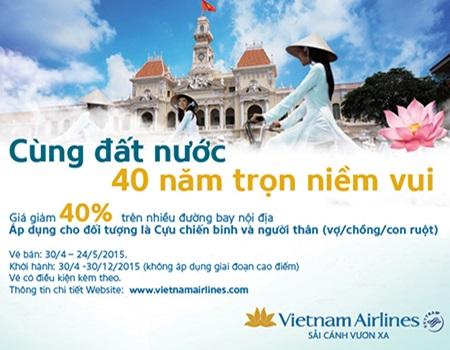 Vietnam Airlines giảm 40% giá vé máy bay cho Cựu chiến binh