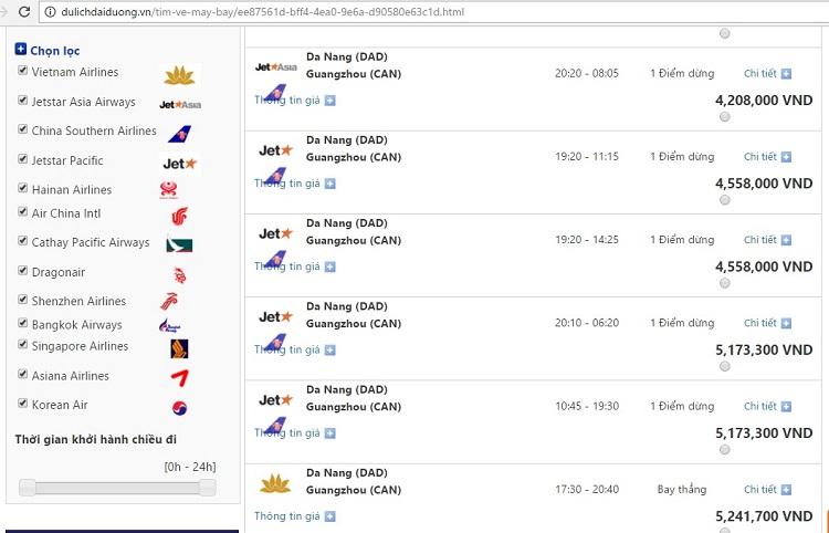 Giá vé máy bay đi Quảng Châu từ Đà Nẵng (giá vé mang tính thời điểm)