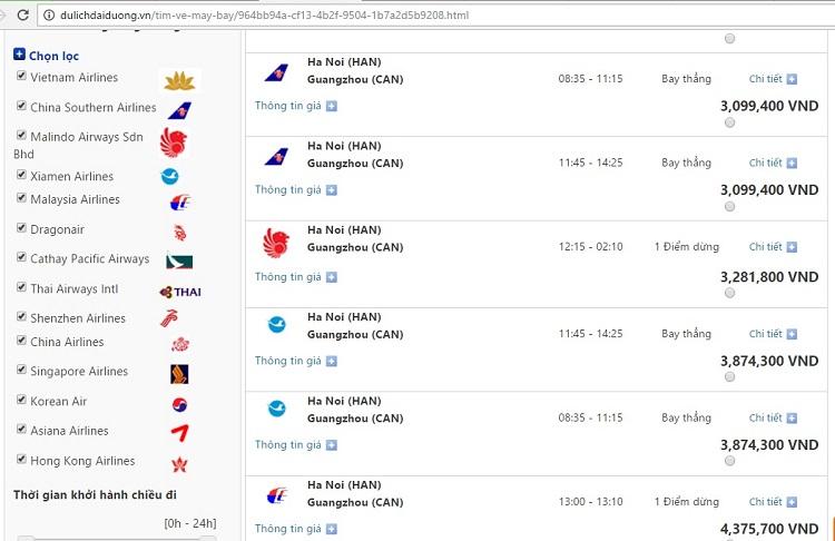 Giá vé máy bay đi Quảng Châu từ Hà Nội (giá vé mang tính thời điểm)